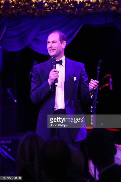 Prince Edward, Earl of Wessex speaks on stage at the annual National Youth Theatre Fundraising evening at Cafe Royal on November 26, 2018 in London,...