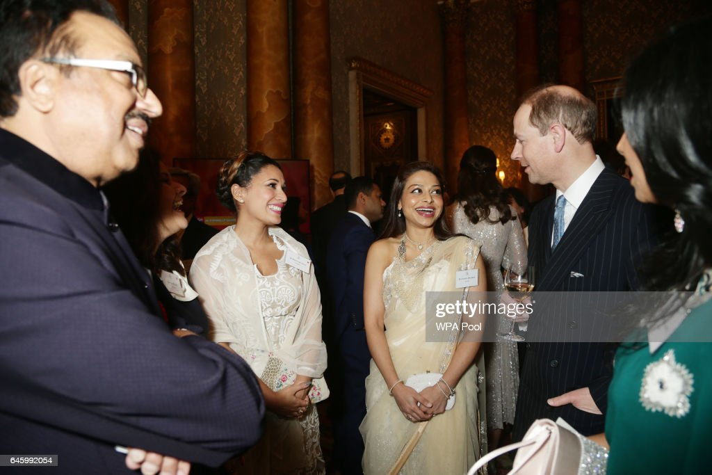 Prince Edward, Earl of Wessex (R) speaks to Ayesha Dharker (centre) during a reception to mark the launch of the UK-India Year of Culture 2017 on February 27, 2017 in London, England.