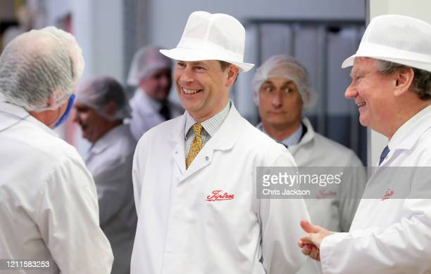 Prince Edward Earl of Wessex speaks to staff during a visit to Tiptree Jam Factory on March 10 2020 in Tiptree United Kingdom The Earl of Wessex...