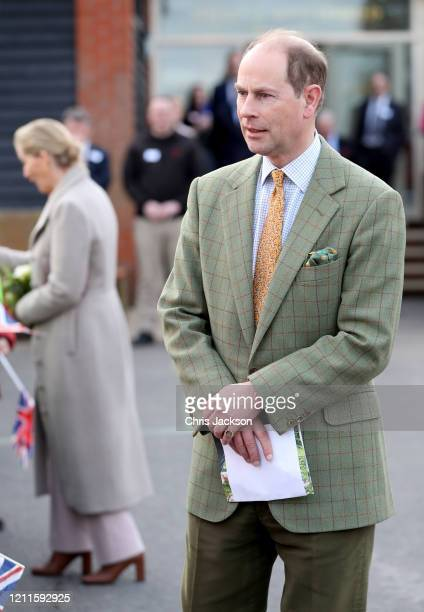 Prince Edward Earl of Wessex speaks with wellwishers after a visit to Tiptree Jam Factory with Sophie Countess of Wessex on March 10 2020 in Tiptree...