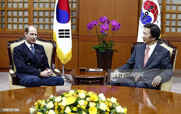 Prince Edward, Earl of Wessex talks with South Korean Foreign Minister Yun Byung-Se during a meeting at the Ministry of Foreign Affairs on October...