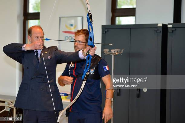 Prince Edward Earl Of Wessex tries archery as she visits INSEP on October 2 2018 in Paris France Prince Edward Earl Of Wessex and Sophie Countess Of...
