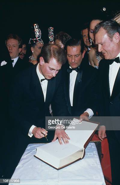 Prince Edward Earl of Wessex visits the Moulin Rouge in Paris 20th February 1988