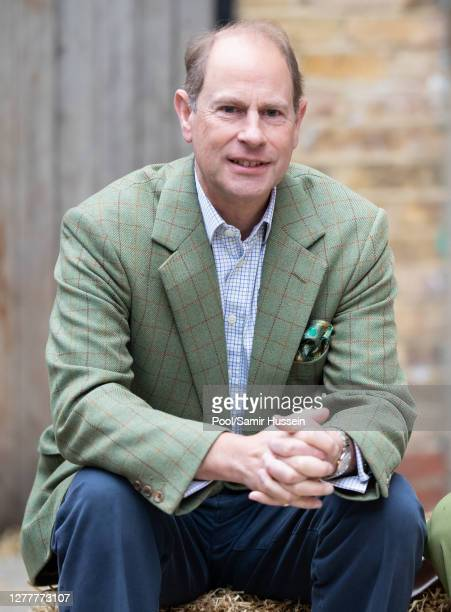 Prince Edward, Earl of Wessex visits Vauxhall City Farm on October 01, 2020 in London, England. Their Royal Highnesses see the farm's community...