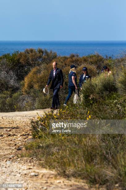 Prince Edward Earl of Wessex walks with local school children along the newly opened national trail walk at the Royal National Park on September 14...