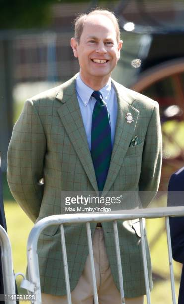 Prince Edward, Earl of Wessex watches Sophie, Countess of Wessex and Lady Louise Windsor take part in 'The Champagne Laurent-Perrier Meet of the...