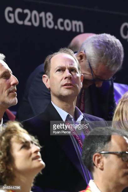 Prince Edward Earl of Wessex watches the Men's Gold Medal Basketball Game between Australia and Canada on day 11 of the Gold Coast 2018 Commonwealth...