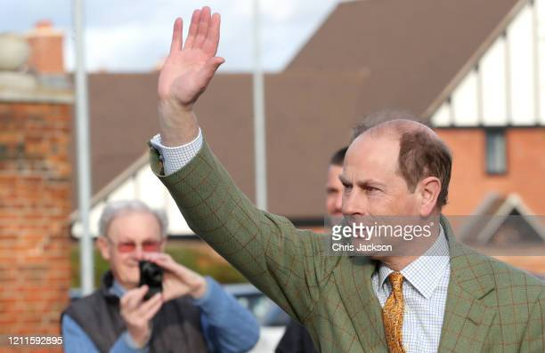 Prince Edward Earl of Wessex waves at wellwishers after a visit to Tiptree Jam Factory with Sophie Countess of Wessex on March 10 2020 in Tiptree...