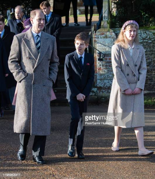 Prince Edward Earl of Wessex with James Viscount Severn and Lady Louise Windsor attend the Christmas Day Church service at Church of St Mary...