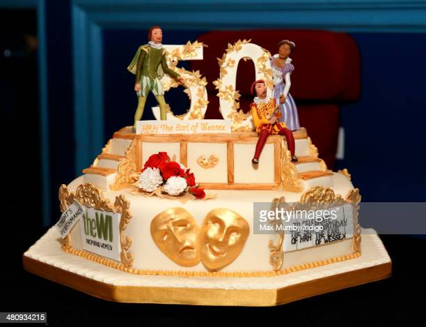 Prince Edward Earl of Wessex's 50th birthday cake made by the WI seen as he visits Shanklin Theatre during a day of engagements on the Isle of Wight...