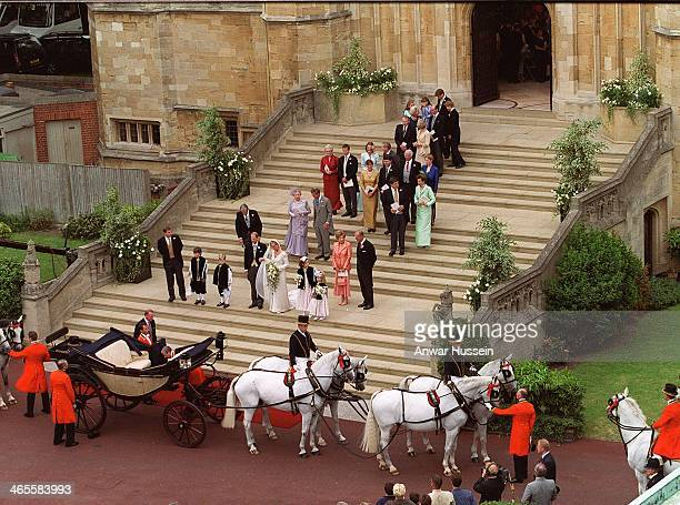 Prince Edward marries Sophie RhysJones at St George's Chapel on June 19 1999 in Windsor England