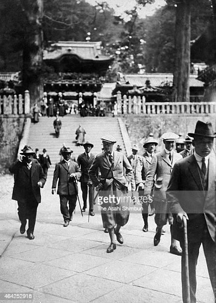 Prince Edward Prince of Wales and later King Edward VIII visits Nikko Toshogu Shrine on April 22 1922 in Nikko Tochigi Japan