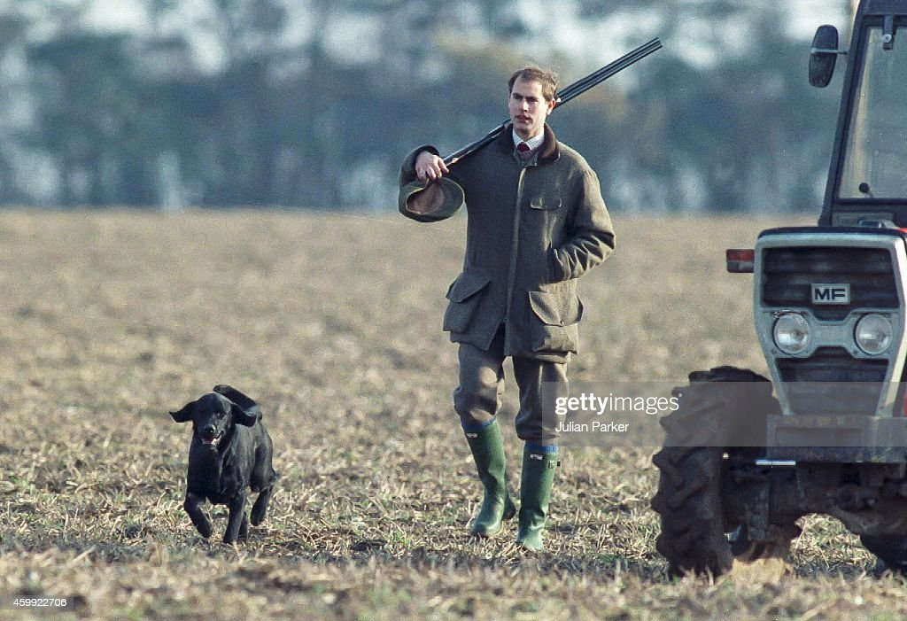 Prince Edward takes part on a Shoot near Sandringham Estate, Norfolk : ニュース写真