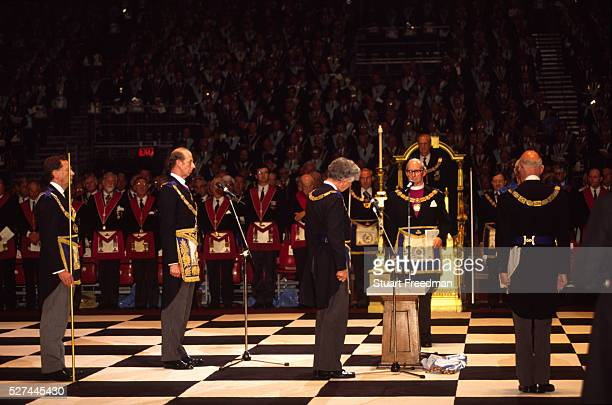Prince Edward The Duke of Kent at a Masonic ceremony at Earls Court in London Freemasonry which traces it's modern origins back to the sixteenth...