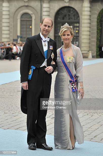 Prince Edward the Earl of Wessex and Princess Sophie the Countess of Wessex attend the wedding of Crown Princess Victoria of Sweden and Daniel...
