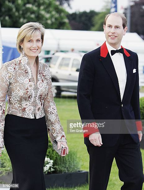 Prince Edward the Earl of Wessex and Sophie the Countess of Wessex arrive for a party/dinner at the Royal Windsor Horse Show on May 12 2006 in...