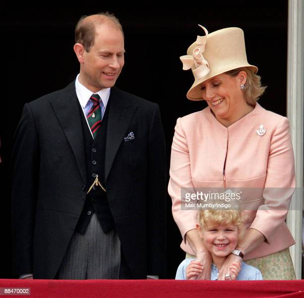 HRH Prince Edward The Earl of Wessex HRH Sophie Countess of Wessex and Lady Lousie Windsor on the balcony of Buckingham Palace during the annual...