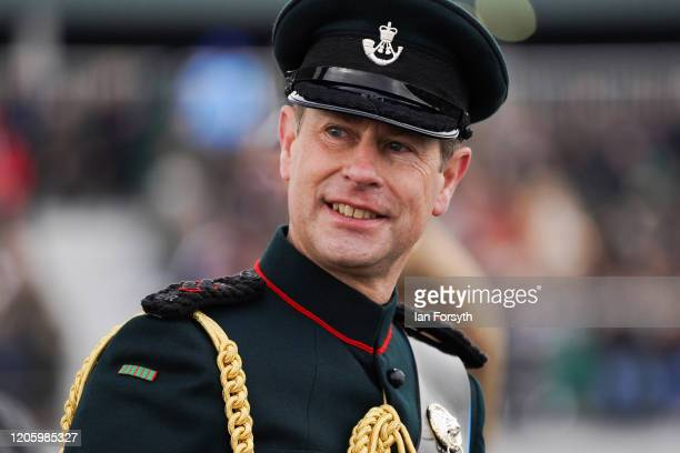 Prince Edward the Earl of Wessex inspects recruits as they graduate from the Army Foundation College in Harrogate on February 13 2020 in Harrogate...