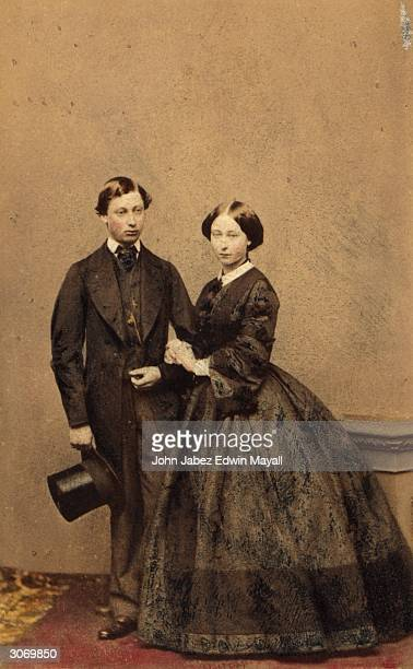 Prince Edward , the second son of Queen Victoria and later King Edward VII of Britain with his sister Princess Alice Maud Mary .