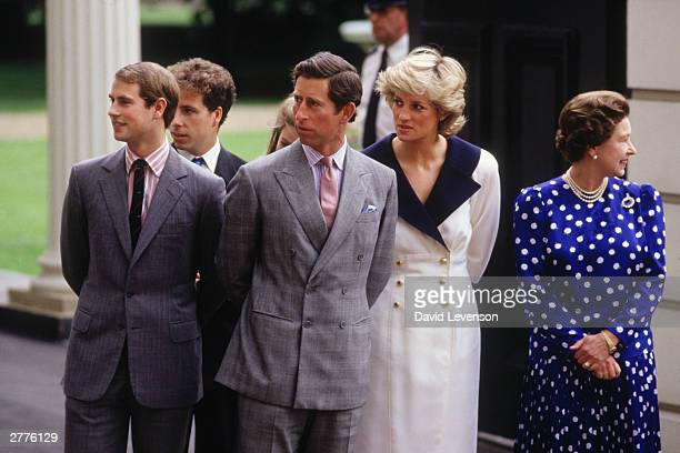 Prince Edward Viscount Linley Prince Charles Diana Princess of Wales and the Queen at the Queen Mothers 87th birthday celebration on August 4 1987 at...