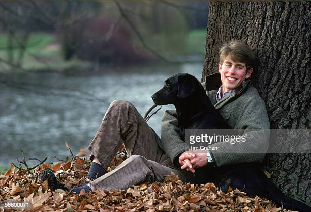 Prince Edward with his labrador dog 'Frances' in the grounds of Buckingham Palace. The picture was taken to mark his 18th birthday.