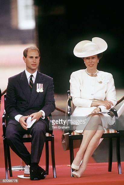 Prince Edward With Princess Anne Watching The Vj Celebrations On The Mall