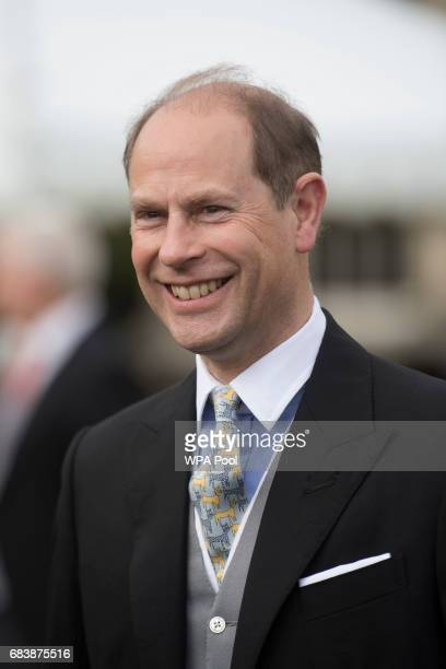 Prince EdwardThe Earl of Wessex talks to guests during a garden party at Buckingham Palace on May 16 2017 in London England