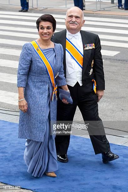 Prince El Hassan bin Talal of Jordan and Princess Sarvath El Hassan of Jordan arrive at the Nieuwe Kerk in Amsterdam for the inauguration ceremony of...