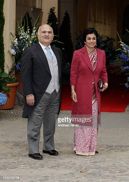 Prince ElHassan bin Talaal of Jordan and Princess Sarvath of Jordan attend the religious wedding ceremony of Georg Friedrich Ferdinand Prince of...