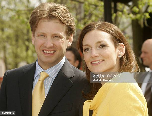 Prince Elores and Princess Aime from the Dutch Royal Family greet the crowd on Queensday April 30 2008 in Franeker The Netherlands