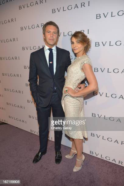 Prince Emanuele Filiberto di Savoia and Princess Clotilde Courau, wearing BVLGARI, arrive at the BVLGARI celebration of Elizabeth Taylor's collection...