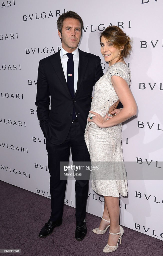 Prince Emanuele Filiberto di Savoia and Princess Clotilde Courau, wearing BVLGARI, arrive at the BVLGARI celebration of Elizabeth Taylor's collection of BVLGARI jewelry at BVLGARI Beverly Hills on February 19, 2013 in Los Angeles, California.