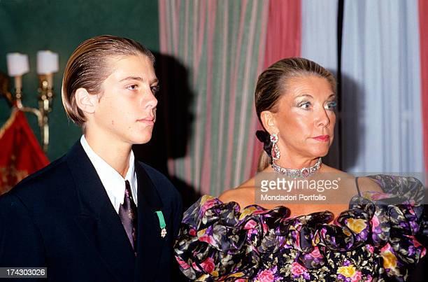 Prince Emanuele Filiberto di Savoia, grandson of the last Italian king Umberto II di Savoia, and the mother, Marina Ricolfi Doria. 1989..