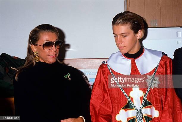 Prince Emanuele Filiberto of Savoy nephew of the last king of Italy Humbert II of Savoy together with his mother Marina Ricolfi Doria 1989