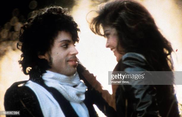 Prince embraces Apollonia Kotero in a scene from the film 'Purple Rain' 1984