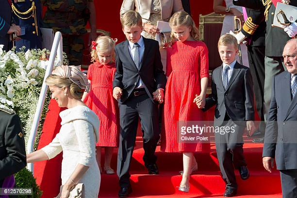 Prince Emmanuel Crown Princess Elisabeth Prince Gabriel and Princess Eleonore pictured during the military parade of the troops of the Belgian Army...