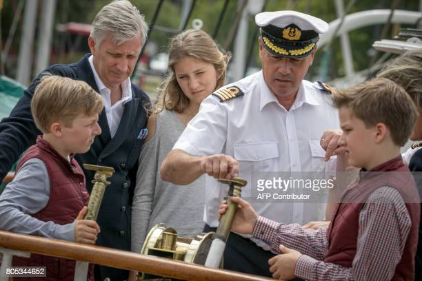 Prince Emmanuel King Philippe Filip of Belgium Princess Eleonore and Prince Gabriel visit the Mercator sailing ship in Oostende on July 1 2017 PHOTO...