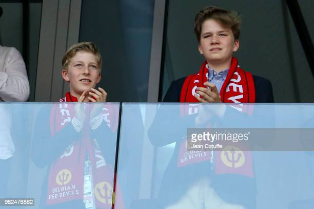 Prince Emmanuel of Belgium and Prince Gabriel of Belgium attend the 2018 FIFA World Cup Russia group G match between Belgium and Tunisia at Spartak...