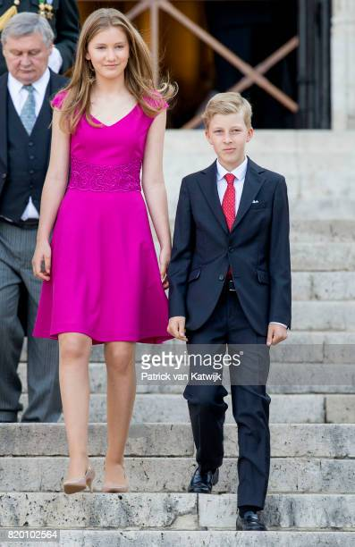 Prince Emmanuel of Belgium and Princess Elisabeth of Belgium attend the Te Deum mass on the occasion of the Belgian National Day in the Cathedral on...