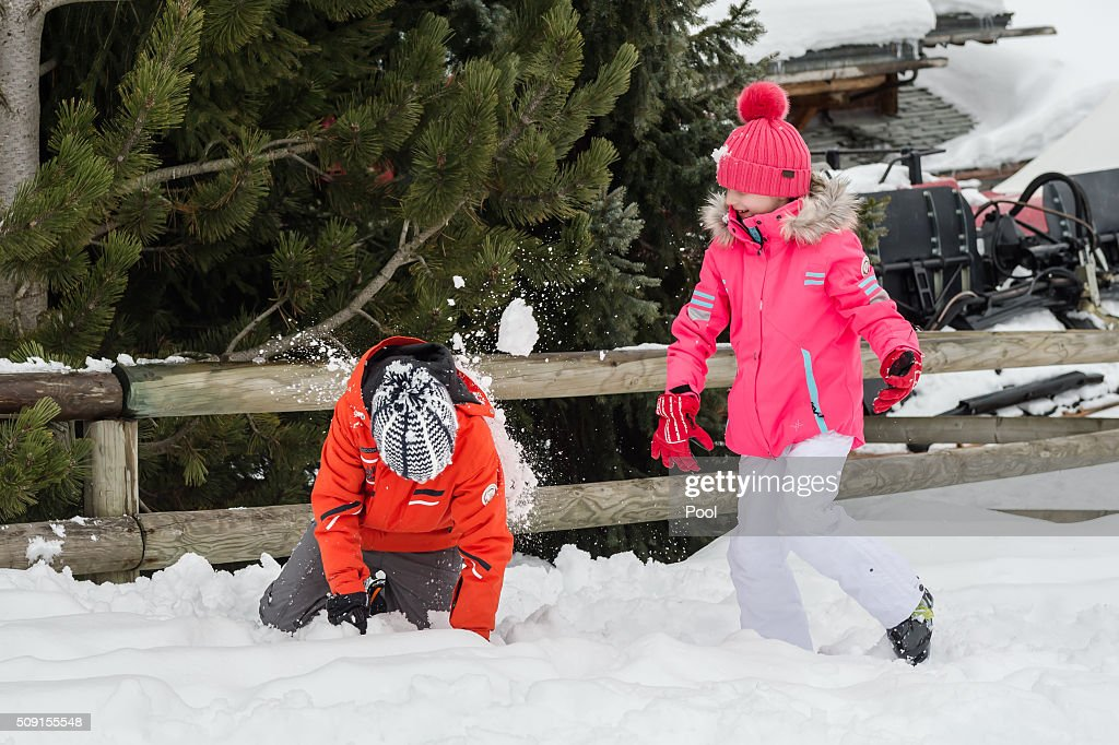 Prince Emmanuel of Belgium and Princess Eléonore of Belgium have a snowball fight during their family skiing holiday on February 08, 2016 in Verbier, Switzerland.