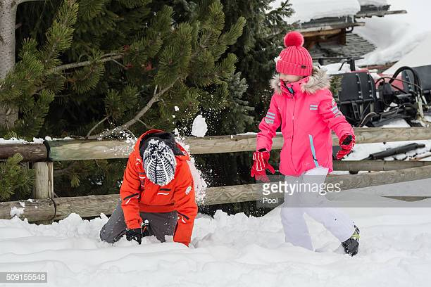 Prince Emmanuel of Belgium and Princess Eléonore of Belgium have a snowball fight during their family skiing holiday on February 08 2016 in Verbier...