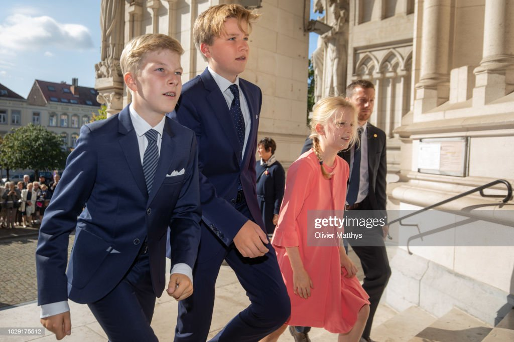 Prince Emmanuel of Belgium, Prince Gabriel of Belgium and Princess Eleonore of Belgium arrive prior to attend a mass to remember the 25th anniversary of the death of King Baudouin at Notre Dame Church on September 8, 2018 in Laeken, Belgium.