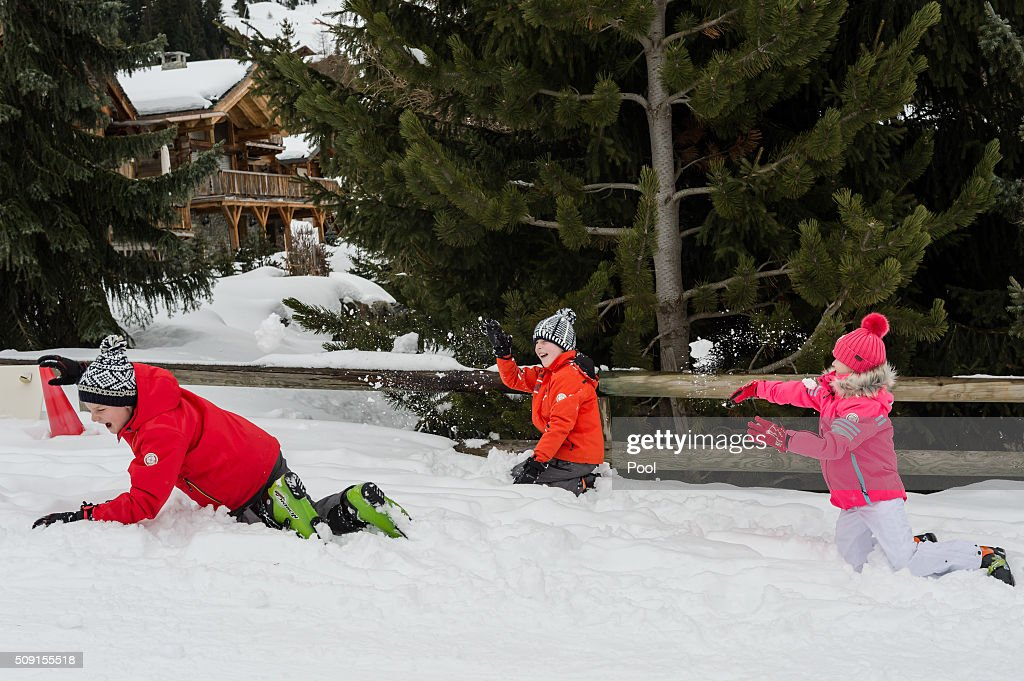 Prince Emmanuel of Belgium (C), Prince Gabriel of Belgium (L) and Princess Eléonore of Belgium have a snowball fight during their family skiing holiday on February 08, 2016 in Verbier, Switzerland.