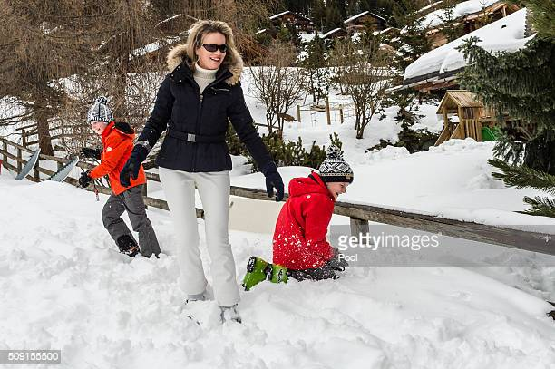 Prince Emmanuel of Belgium Queen Mathilde of Belgium and Prince Gabriel of Belgium have a snowball fight during their family skiing holiday on...