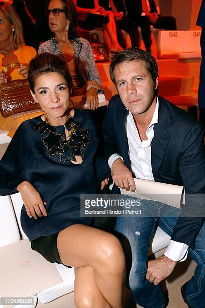 Prince Emmanuel Philibert of Savoy and his wife Clotilde Courau Princess of Savoy attend the Giorgio Armani Prive show as part of Paris Fashion Week...