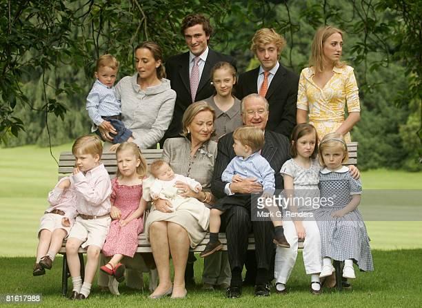 Prince Emmanuel, Prince Gabriel, Princess Elisabeth, Queen Paola with baby Eleonore, King Albert holding Prince Aymeric, Princess Laetitia Maria,...
