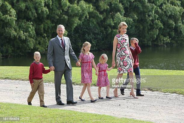 Prince Emmanuel Prince Philippe Princess Elisabeth Princess Eleonore Princess Mathilde and Prince Gabriel of Belgium attend the Belgian Royal Family...