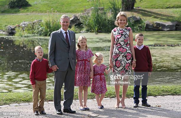 Prince Emmanuel Prince Philippe Princess Elisabeth Princess Mathilde and Prince Gabriel of Belgium attend the Belgian Royal Family official photocall...