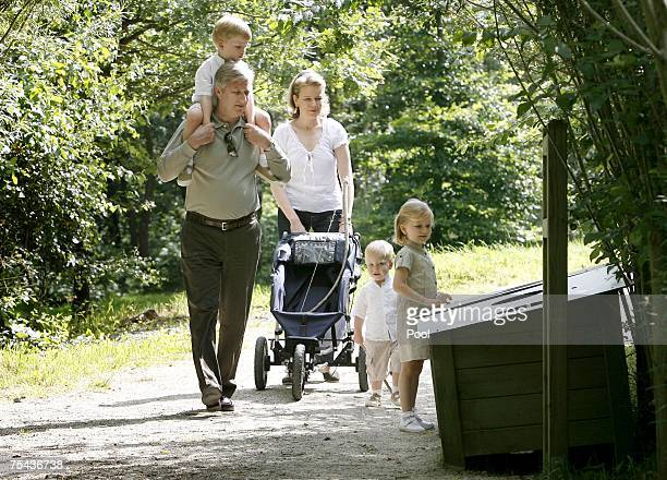 Prince Emmanuel Prince Philippe Princess Mathilde Prince Gabriel and Princess Elisabeth of Belgium walk in park Chlrophylle on July 16 in Dochamps...