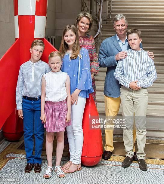 Prince Emmanuel, Princess Eleonore, Crown Princess Elisabeth, Queen Mathilde of Belgium, King Philippe - Filip of Belgium and Prince Gabriel pose...